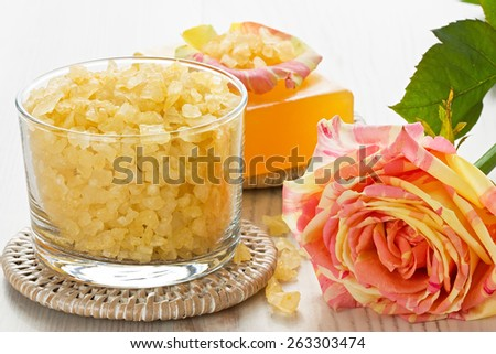SPA treatment set with sea salt, soap and rose  - stock photo