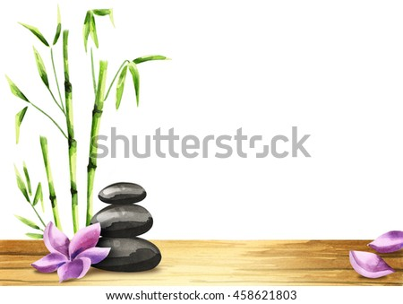 Spa treatment template for your product with a flower and bamboo. Watercolor on a white background
