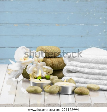 Spa Treatment, Towel, Candle.