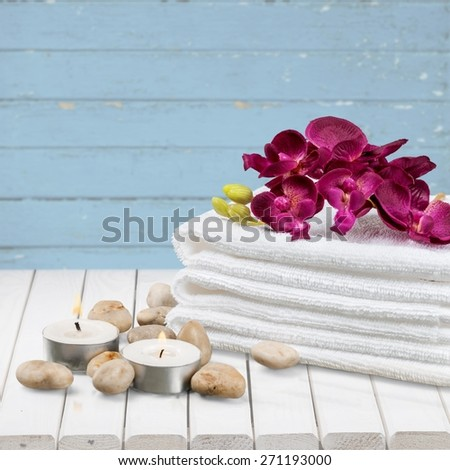 Spa Treatment, Towel, Candle. - stock photo