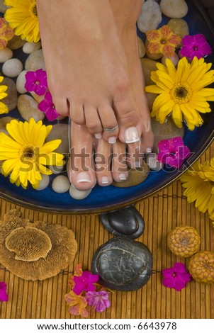 Spa treatment with aromatic gerbera daisies, healing stones, olive oil soaps and mineral water - stock photo
