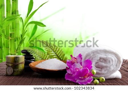 Spa treatment with bamboo background - stock photo