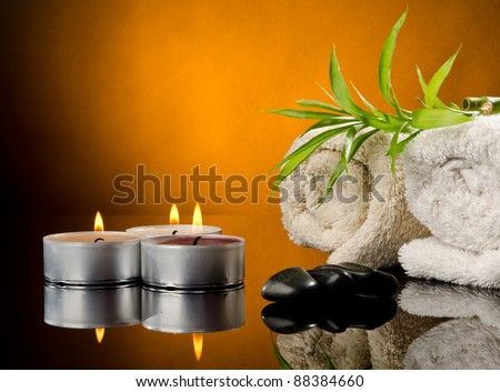 Spa treatment with brown background - stock photo