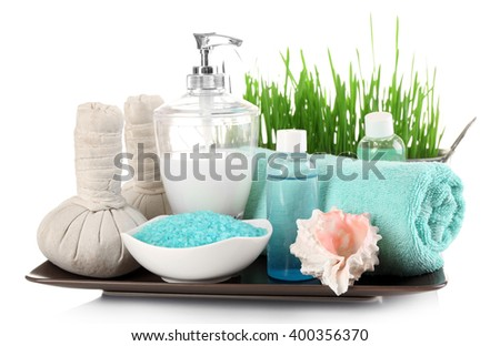 Spa treatment with sea salt isolated on white. - stock photo