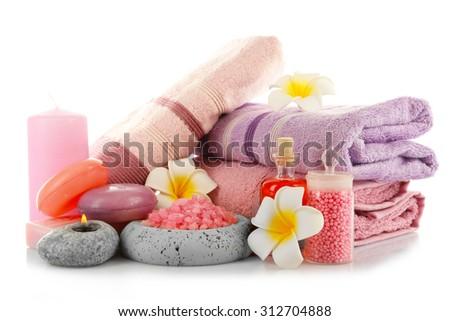 Spa treatments isolated on white - stock photo