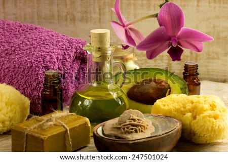 Spa welness products -orchid ,stones, towel, bowl of Spa salt - stock photo