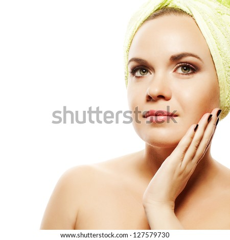 Spa Woman. Beautiful Girl With Ginger Hair After Bath Touching Her Face. Perfect Skin. Skincare. Young Skin. Studio Shot - stock photo