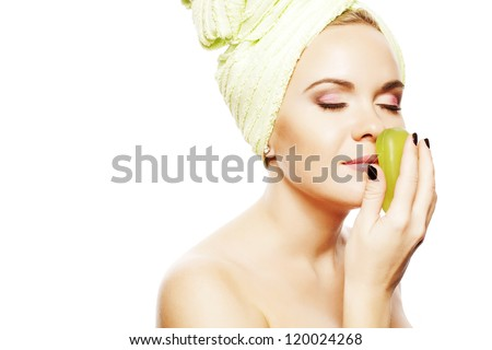 Spa Woman. Beautiful Girl With Ginger Hair After Bath Touching Smelling Green Soap. Perfect Skin. Skincare. Young Skin. Studio Shot - stock photo