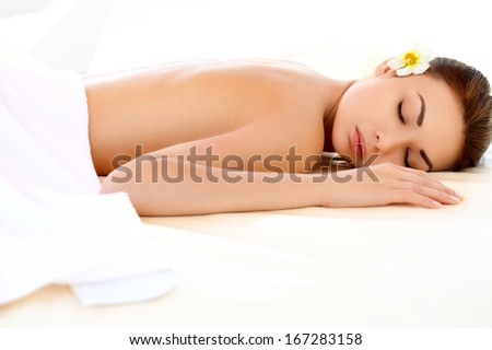 Spa Woman. Close-up of a Beautiful Woman Getting Spa Treatment. - stock photo