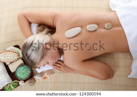 Spa Woman.  Stone Massage - stock photo