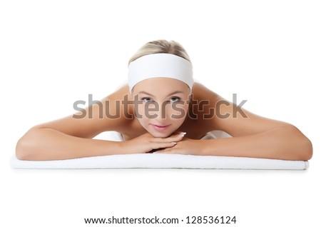 Spa Woman. Stone Massage isolated on white - stock photo