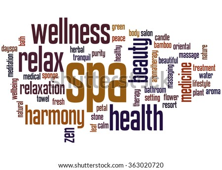 Spa, word cloud concept on white background.
