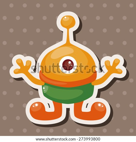 space alien , cartoon sticker icon - stock photo
