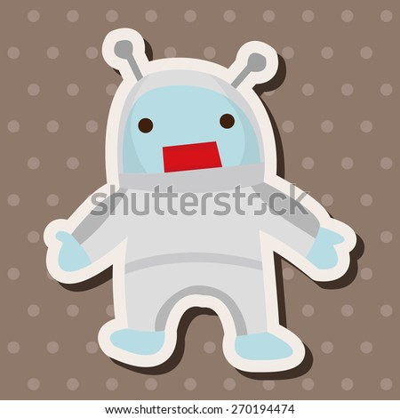 Space alien, cartoon stickers icon - stock photo
