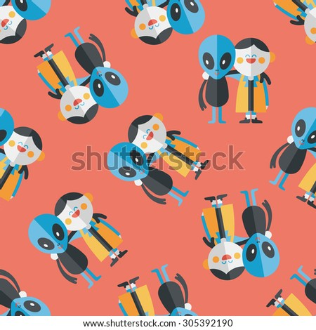 Space alien friendship flat icon,eps10 seamless pattern background