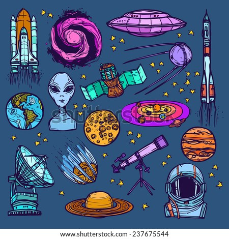 Space and astronomy sketch colored decorative icons set of satellite alien planets isolated  illustration - stock photo