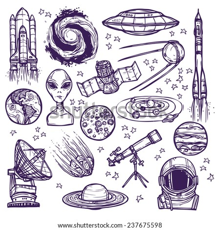 Space and astronomy sketch decorative icons set of telescope alien planets isolated  illustration - stock photo
