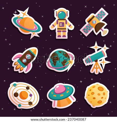 Space and astronomy stickers set with solar system ufo moon isolated  illustration