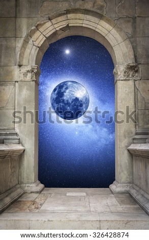 Space and mysterious planet, through ancient antique arch. Elements of this image furnished by NASA.