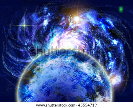 Space and planet, charming the spirals of stars. - stock photo