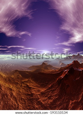 Space and volcanic layer - stock photo