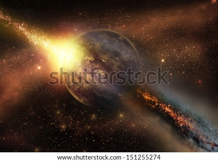 Space armageddon - stock photo