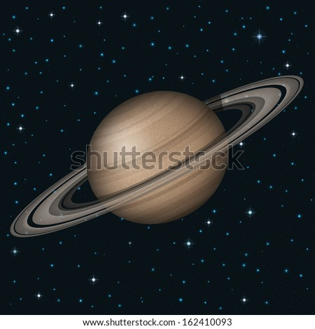 Space background, realistic planet Saturn and stars. Elements of this image furnished by NASA