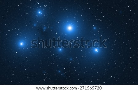 Space background with blue bright stars. - stock photo