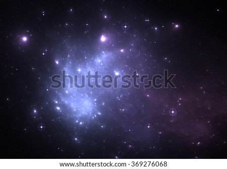 Space background with blue nebula and stars - stock photo