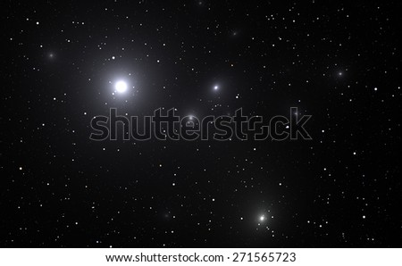 Space background with bright stars