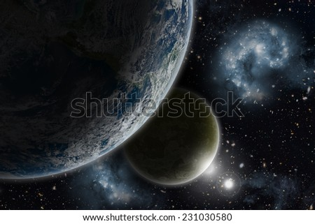 Space background with Earth and nebula in starry sky - elements of this image furnished by NASA - stock photo