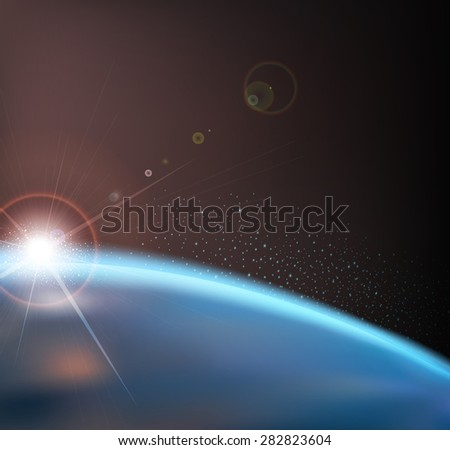 space background with earth and sunrise - stock photo