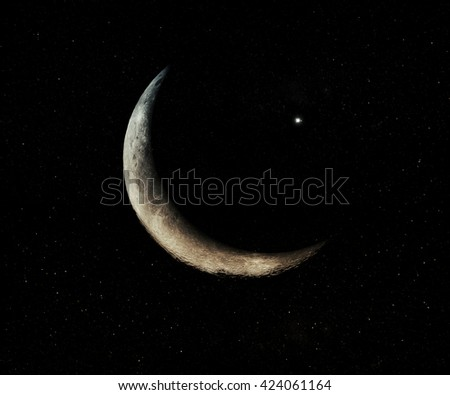 Space Background With Stars And Moon.