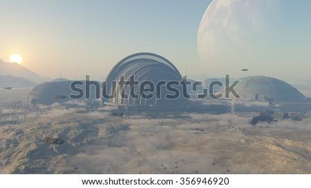 Space colony - stock photo