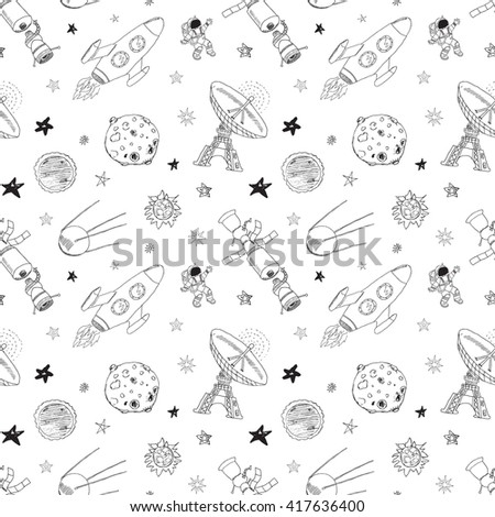 Space doodles icons seamless pattern. Hand drawn sketch with meteors, Sun and Moon, radar, astronaut rocket and stars. illustration isolated. - stock photo