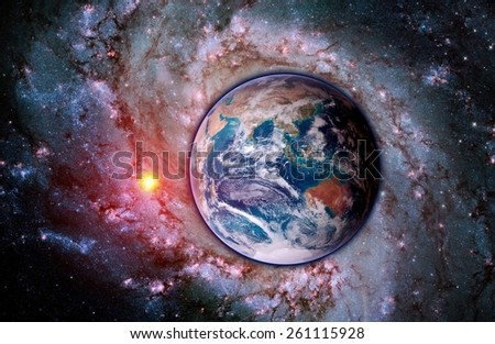 Space earth sun creation galaxy planet astrology. Elements of this image furnished by NASA. - stock photo