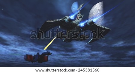 Space Fight - A lighter and more maneuverable spaceship blasts a laser beam toward a enemy battleship. - stock photo