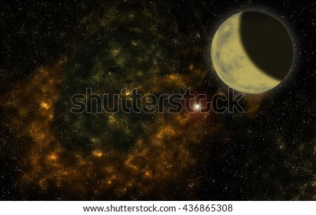 Space fog. Lunar eclipse. Space dust . Space matter. Creation of space. Studying of the Universe - stock photo