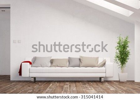 Space for canvas on wall in living room over a sofa (3D Rendering) - stock photo
