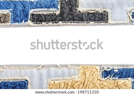 Space for  text fragment of jeans isolated on white background - stock photo