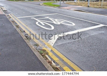 Space for waiting cyclists at a road junction in England - stock photo