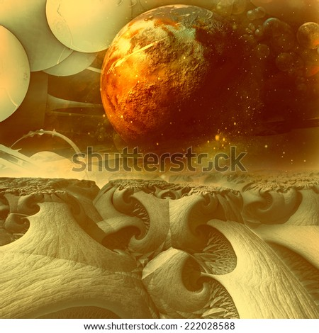 space futuristic landscape - stock photo