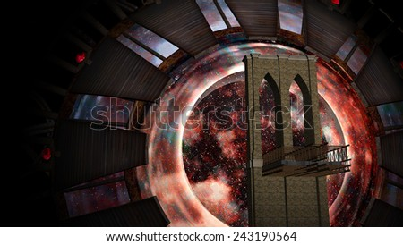 Space Gate into other world in the universe - stock photo