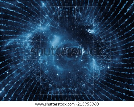 Space Geometry series. Arrangement of Math, geometry and design elements on the subject of science, technology and education - stock photo
