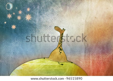 Space Giraffe on his little planet, artistic illustration - stock photo