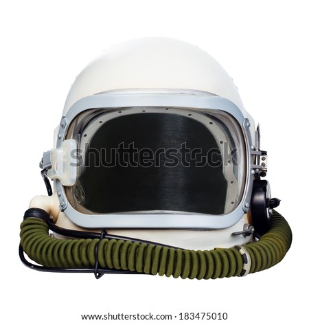 Space helmet isolated on a white background. - stock photo