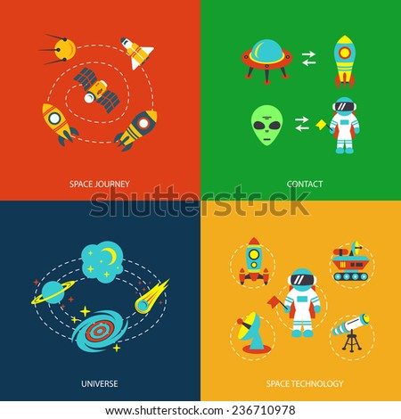 Space icons infographics of universe galaxy journey and technology  illustration