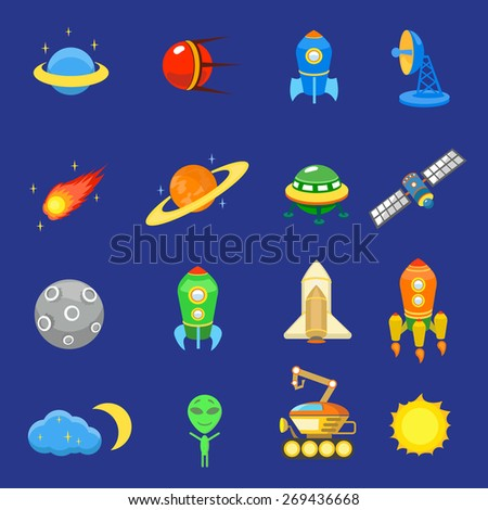 Space icons set of rocket  galaxy  planet ufo sun  illustration