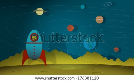 Space Illustration with Vintage Rocket Astronaut cat explores space in his rocket and lands on the moon.