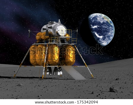 Space Lander On The Planet. 3D Scene. Elements of this image furnished by NASA.  - stock photo